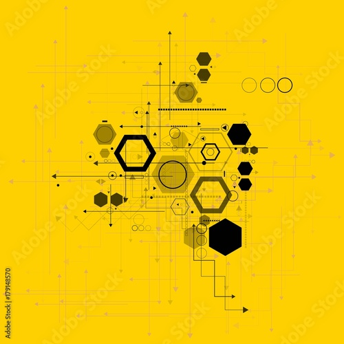 Sticker Abstract technological background with various technological elements. Structure pattern technology backdrop. Vector