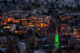 Night image from the Turkish city Goreme in Cappadocia, famous for its fairy chimneys. - 179152116