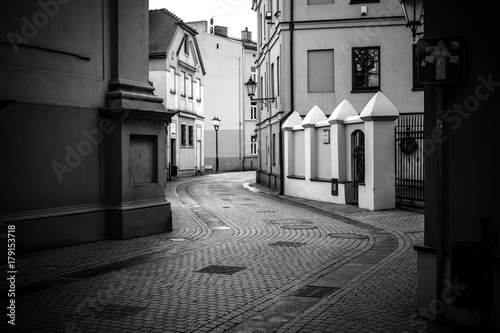 Aluminium Smalle straatjes Postcards photos from the historical city Piotrkow Trybunalski, central Poland. City of the first jewish ghetto established by Germans in the occupied Poland during world war second.