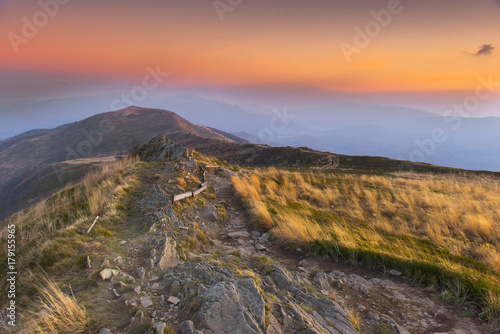 Aluminium Zalm Sunset in mountains