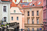 Center of Poznan - a street in the old town and the rebuildded colorful buildings, Polish cities.