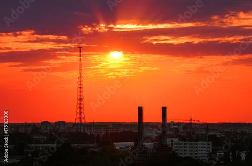Papiers peints Corail Sunset in Bucharest