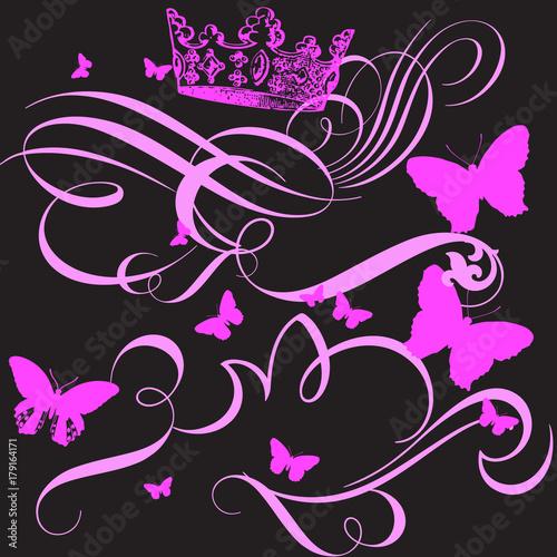 Keuken foto achterwand Vlinders in Grunge cute animal pattern