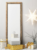Scandinavian Christmas decoration  with mock up poster , 3d render, 3d  illustration - 179164781