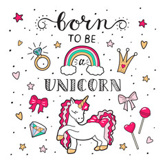 Unicorn with vector lettering . Vector