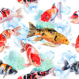 The koi carps. Seamless pattern with fish. Watercolor. Illustration. Picture.