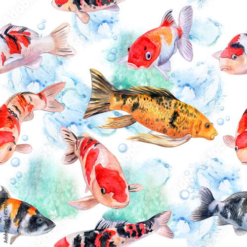 The koi carps. Seamless pattern with fish. Watercolor. Illustration. Picture. - 179166395