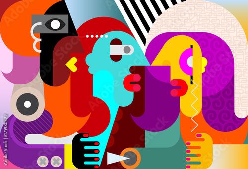 Foto op Plexiglas Abstractie Art Three People portrait