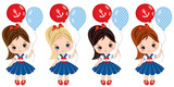 Vector Cute Little Girls Dressed in Nautical Style with Balloons