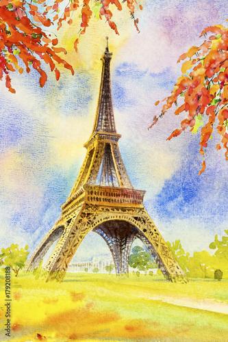 Foto op Aluminium Zwavel geel Eiffel tower and flower beauty season in garden