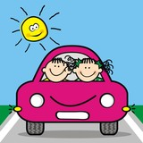 Happy kids at pink car, funny vector icon