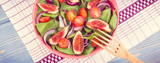 Vintage photo, Fruit and vegetable salad with wooden fork, concept of healthy lifestyle and nutrition