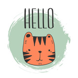 stylized baby tiger yand drawn illustration vector for print design. cute tiger for kids cards print textile and other