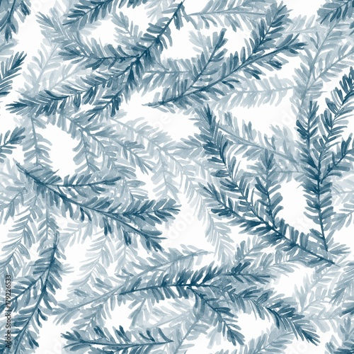 Cotton fabric Watercolor seamless pattern with fir tree branches 2