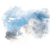Watercolor illustration of sky with cloud (retouch). - 179226928