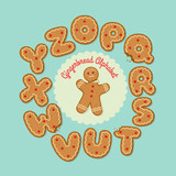 Gingerbread man with set of gingerbread cookie letters, O through Z. Vector illustration.