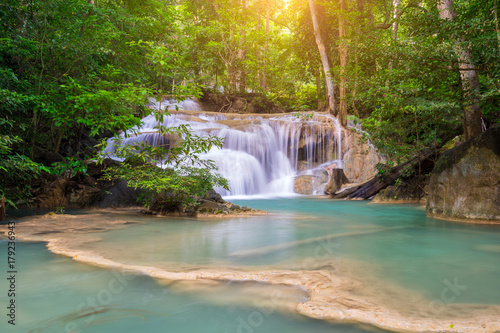 Amazing beautiful waterfalls level one in tropical forest at Erawan Waterfall in Erawan National Park, Kanchanaburi Province, Thailand - 179236943