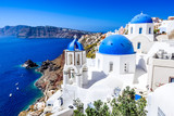 Oia, Santorini, Greece - Blue church and caldera - 179238335