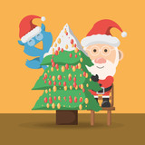 christmas tree and santa claus icon over yellow background colorful design vector illustration