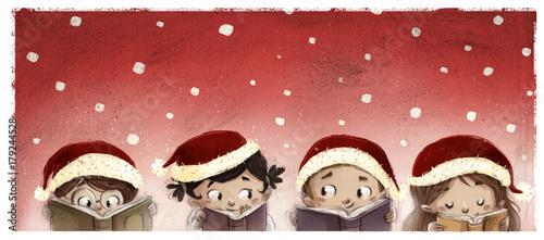 cara de niños leyendo en navidad