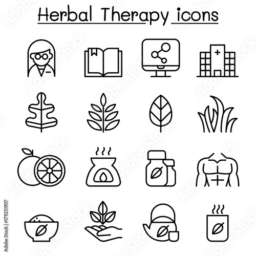 Herbal Therapy & Hospital icon set in thin line style