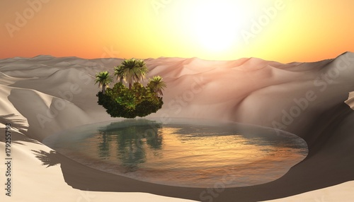 oasis, lake with palm trees on the beach in the sandy desert, 3d rendering
