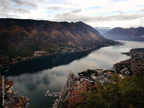 Fotobehang Zwart Kotor Bay in the clouds from above