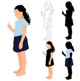 silhouette little girl, vector