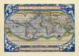 Old map of the world. Full globe realized in ancient style. Blue cloud theme decoration on each frame corner . By Ortelius, Theatrum Orbis Terrarum, Antwerp, 1570 - 179269393