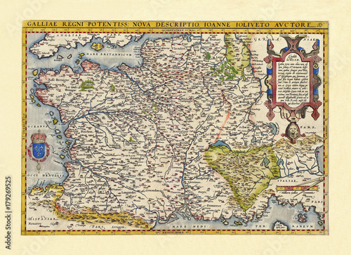 Fototapeta Old map of France. Excellent state of preservation realized in ancient style. All the graphic composition inside a frame. By Ortelius, Theatrum Orbis Terrarum, Antwerp, 1570