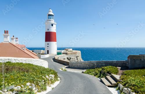 Fotobehang Vuurtoren Europa Point Lighthouse (Trinity Lighthouse or Victoria Tower). British Overseas Territory of Gibraltar.