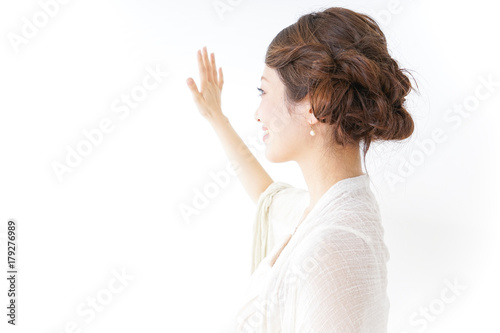 woman in dress waving her hands Poster