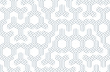 Fototapety Seamless geometric pattern with hexagons and lines. Irregular structure for fabric print. Monochrome abstract background.
