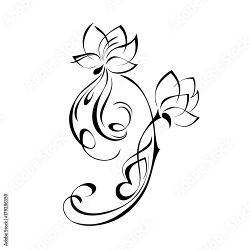 ornament 171. two stylized flower in black lines on a white background