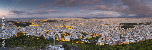 Foto op Canvas Lavendel View of Acropolis and city of Athens from Lycabettus hill at sunrise, Greece.