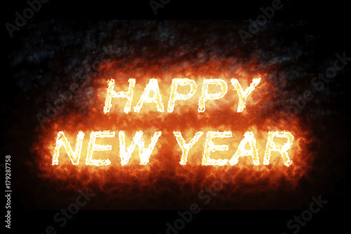 Poster burning happy new year fire word text with flame and smoke in fire on black back