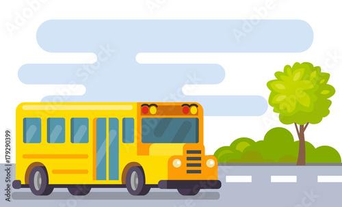 Fotobehang Auto Yellow school bus in street.
