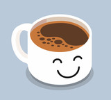 Coffee cup with smiley face.