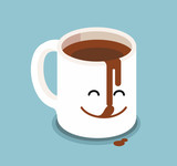 Funny cartoon characters coffee cup.