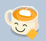 Tea cup with smiley face. - 179290589