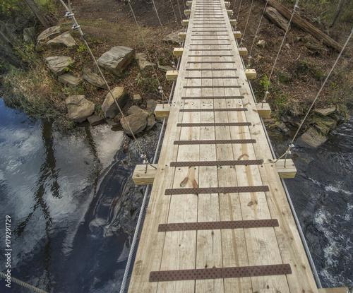 Suspended Pedestrian Wooden Trail Bridge