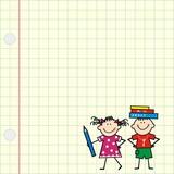 Picture of children on square paper. School kids. Vector icon.