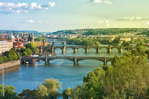 Prague Bridges and Vltava River in the Summer. Czech Republic. Poster