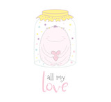 Hand drawn vector illustration of a cute funny cartoon monster with a heart in a glass jar, with text All my love. Isolated objects on white background. Design concept kids, card, motivational poster.