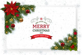 Christmas background with decoration and paper. Decorative Christmas festive background with Christmas flowers, balls stars and ribbons. - 179308998