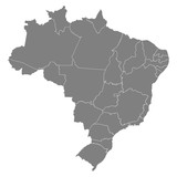 High quality map Brazil with borders of the regions