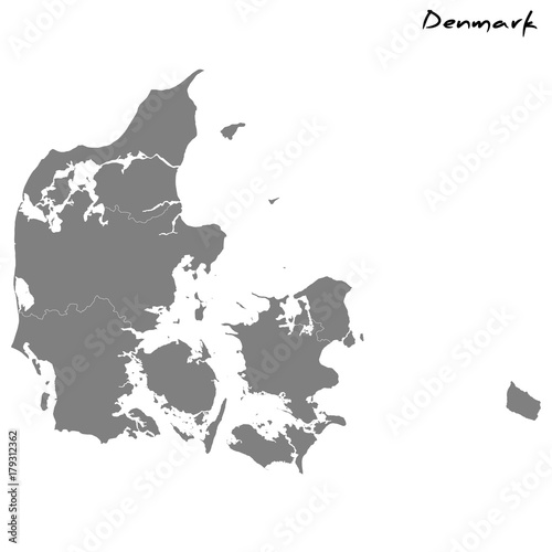 High quality map Denmark with borders of the regions | Buy Photos ...