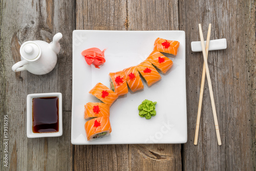 Fotobehang Sushi bar Japanese traditional sushi food and rolls with fresh seafood