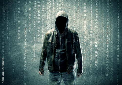 Poster Angry mysterious hacker with numbers