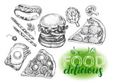 Set of varied food. Burger, pieces of pizza, toast with egg, hot dog. Design elements collection. Vector ink hand drawn illustration with calligraphy style lettering. Menu template. - 179317591